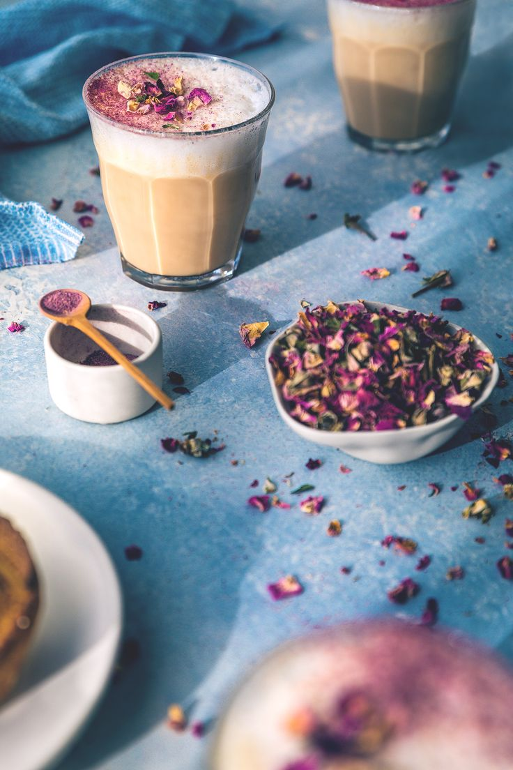 Rose & Earl Grey Tea Latte recipe by HonestlyYUMf (honestlyyum.com) food photography, food styling, learn food photography