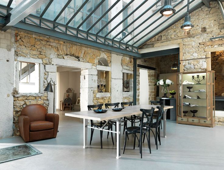 Beautiful original stone wall with a modern touch - I personally like the green house effect.