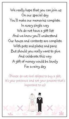 21 best images about monetary gift wording on pinterest for What to ask for wedding registry