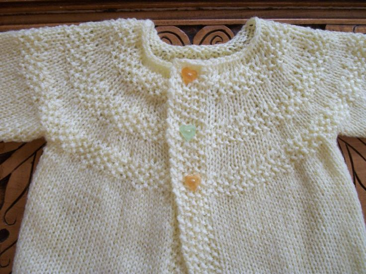 Hand Knitted Baby Sweater Set (with heart buttons)