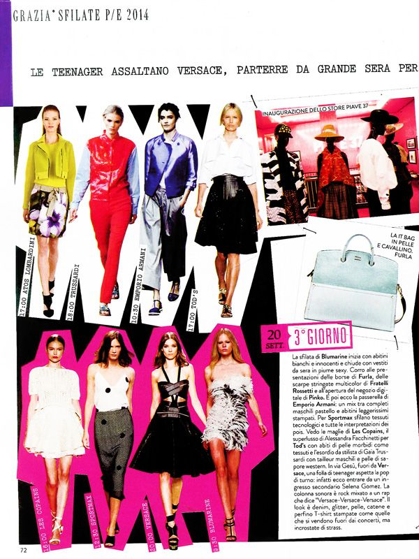 GRAZIA Italia - October issue n.40-2013 _ Pag. 72: (top left) Total look by Atos Lombardini. #SS2014 #Preview #Fashion #Lime #Trend #MFW #Milano