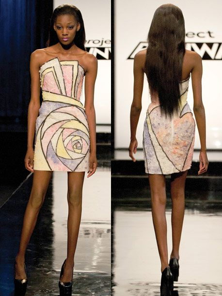 "Dress by Ven Budhu, made of ""materials"" from ""Dylan's Candy Bar ~ Project Runway Recap: How Sweet It (Mostly) Was -- The Cut"