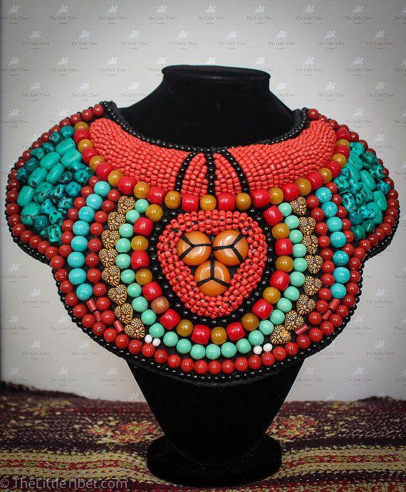 Tibetan necklace Kyi Bhub a beautiful piece made by TheLittleTibet #yakbone #turquoise #tibetan #mala #prayer #necklace #coral #inspired #buddhist #artisan #handicraft #beads #ethical #bohemien #independence #lhasa #thelittletibet