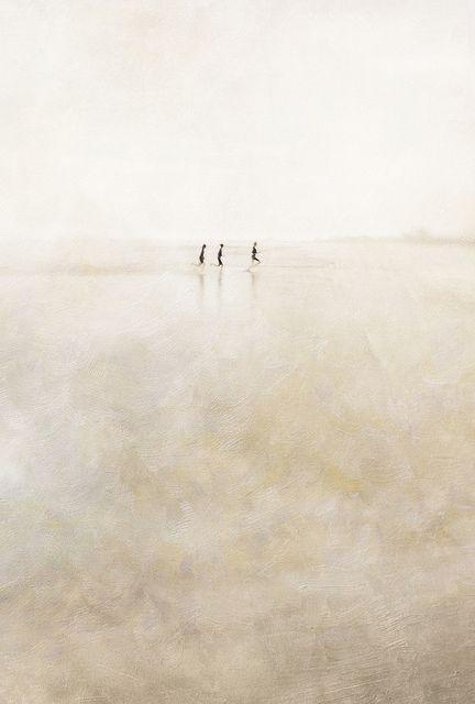 three girls running abstract by Paul Grand