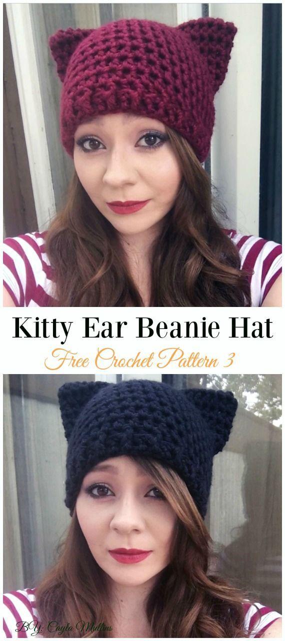 Kitty Ear Beanie Mütze Häkeln Kostenlose Muster Spaß Erwachsene