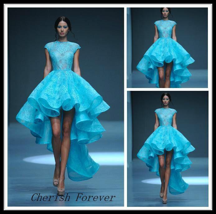 Vintage envío gratuito de encaje alto bajo de Michael del Cinco boda Dresse con pura-cuello alto See Through Hi Lo falda vestido de novia corto(China (Mainland))