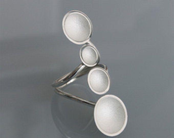 """Zeitgenössischer Schmuck handmade Silberring """"4 Tassen"""""""