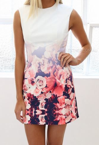 Gorgeous white dress with the pink flower print.