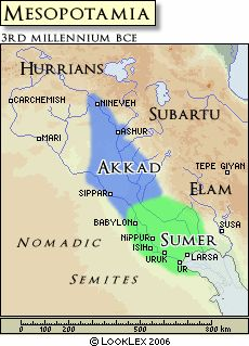Akkad - LookLex Encyclopaedia.  Map shows  Akkad empire and the Sumerian Empire of Mesopotamia.  These empires would have occurred after the division of languages.