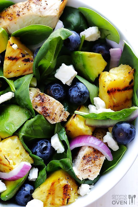 Grilled Pineapple, Chicken & Avocado Salad -- leave the pineapple plain, or pop it on the grill or (indoor) grill pan, and this delicious salad is great year-round! | gimmesomeoven.com