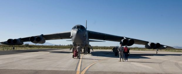 A B-52H bomber was seriously damaged by fire in 2014. It is replaced with… …