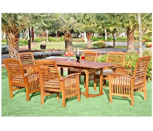 New wood patio dining set outdoor teak solid hardwood table chairs w cushions house products