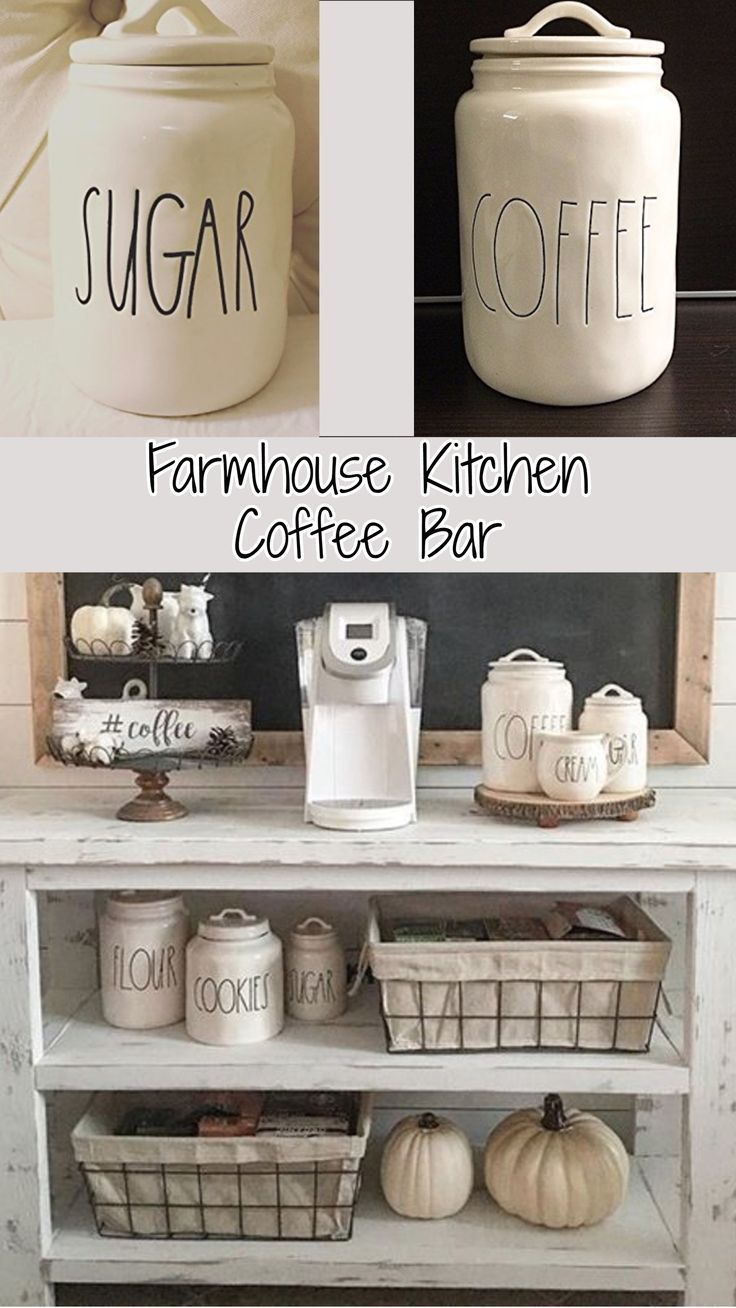 Farmhouse Kitchen Coffee Bar--I could use something similar to replace our current setup, a old outdated microwave cart of course I would need it large enough to function as a microwave cart and coffee bar