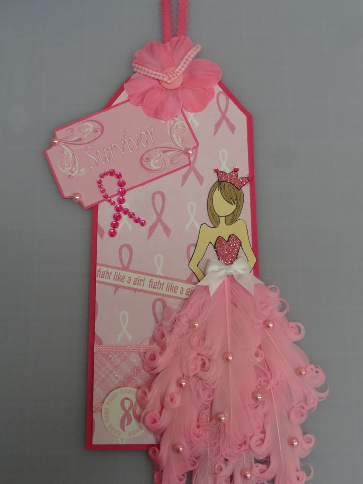Breast cancer survivor prima doll tag - fight like a girl - awareness ribbon - pink feathers