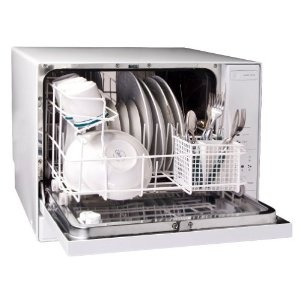 Haier 4-Place-Setting Tabletop Dishwasher. This guy was perfect for our Brooklyn apartment.  It gets our family's dishes clean!
