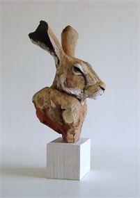 'Hare Head', terracotta sculpture (limited edition)—by Nichola Theakston❣ Gorgeous realism piece❣  nicholatheakstonceramics.vpweb.co.uk
