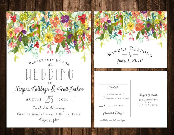 Bright Bohemian Wildflower Wedding Invitation Set by papernpeonies
