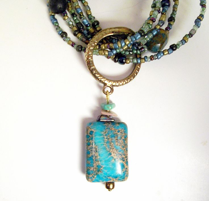 Turquoise crazy agate and seed beads with stone chips, lava beads, boho, rustic long necklace and earrings: A River Runs Thru It. $60.00, via Etsy.