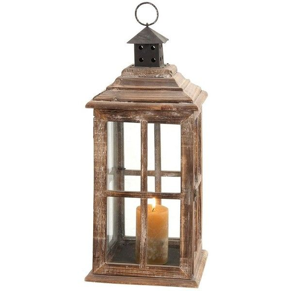 Rustic Lantern Candle Holder ($66) ❤ liked on Polyvore featuring home, home decor, candles & candleholders, brown, rustic candle holders, brown candles, brown candle holders, colored candles and colored lanterns