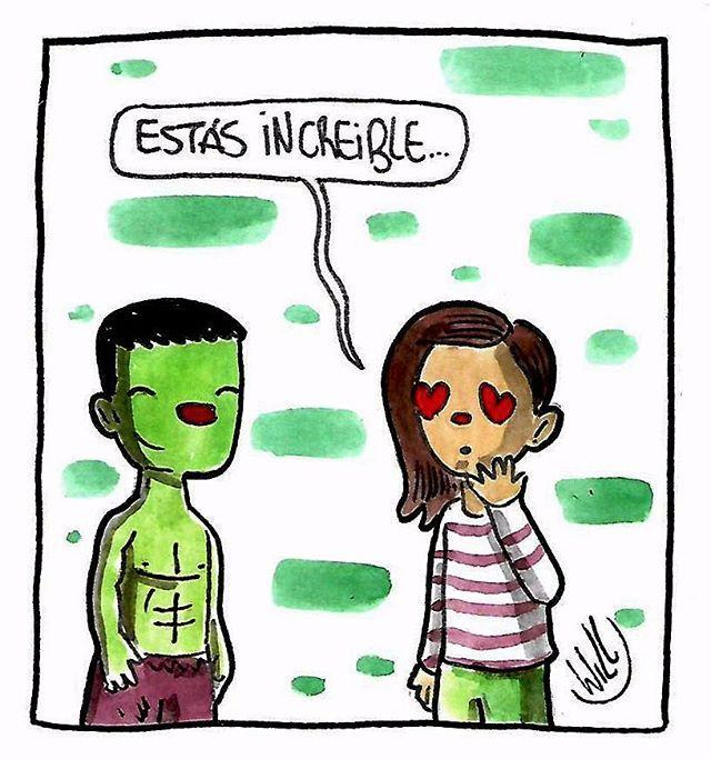 """Hace poco una amiga me contó que le gustaba un chico que estaba """"increíble""""...yo imaginé esto  #increible #hulk #verde #green #dibujo #acuarela #comic #historieta"""