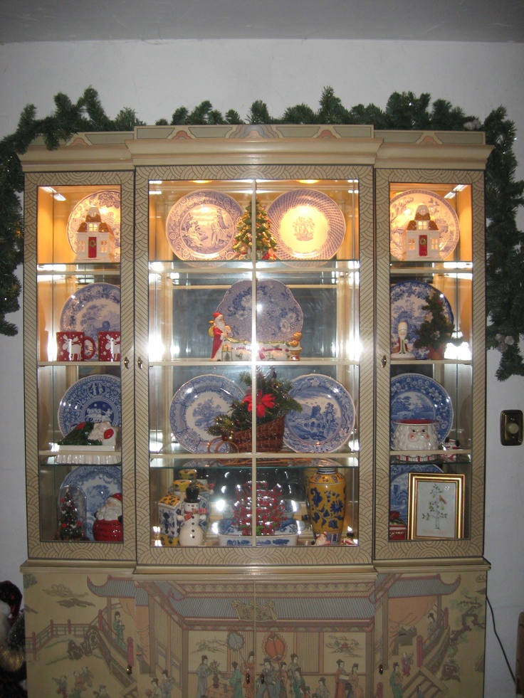 China Cabinet In The Kitchen This Past Christmas With Spode Blue And Pieces