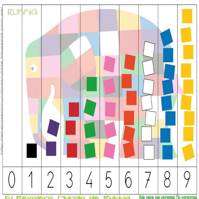 Aprender a contar con Elmer, learning numbers with Elmer, Elmer the elephant activities, Elmer the elephant printable, Elmer cuento, Elmer actividad, learning numbers kids