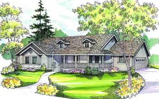 The House Plan Is A Great Single Story Country Style House