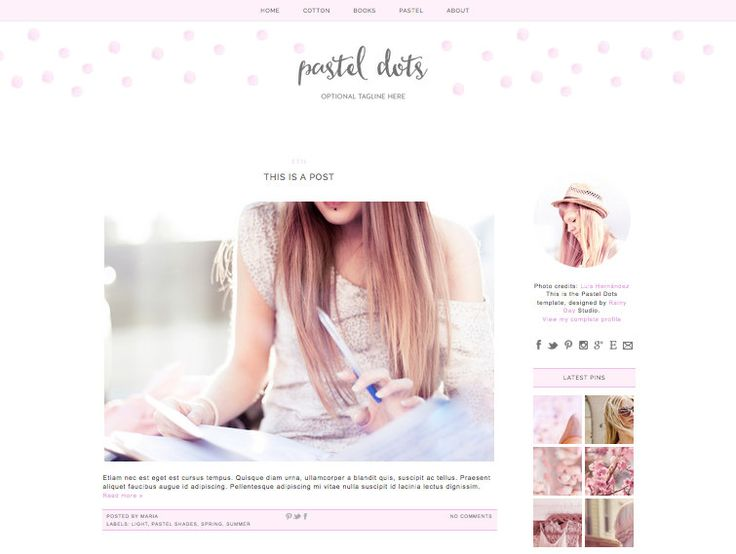 24 best blog design images on pinterest blogger templates blog beautiful blog design for blogger cute pastel pink polka dots by rainy day design studio pronofoot35fo Images
