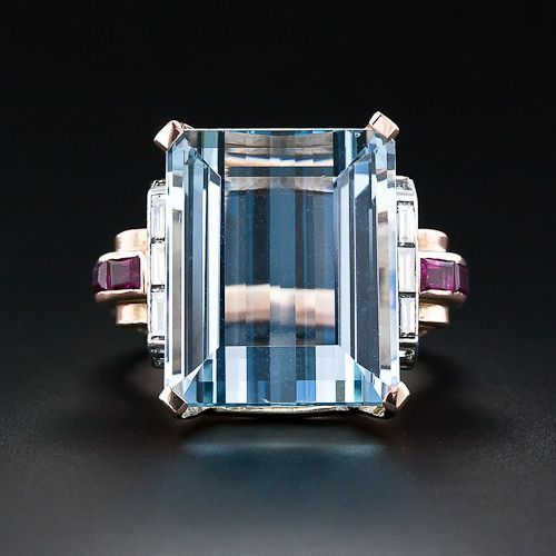 Vintage Art Deco Aquamarine Ring by Van Cleef & Arpels (side view http://pinterest.com/pin/49610033365477538 )