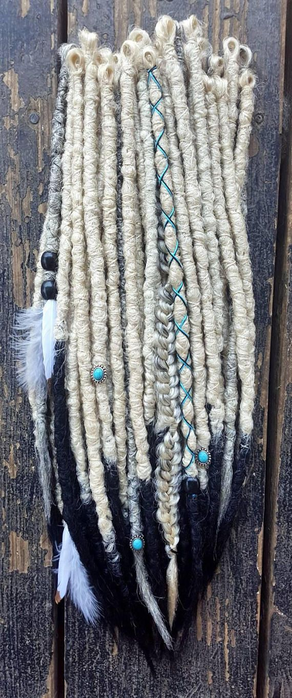 (30 pieces) 1/2 set of blonde crochet dreadlocks with black tips Set: 30 pieces, 5 braids, 25 dreadlocks Colors: blonde, black Length: 14-18 Embellishments: thread wraps, turquoise stones, black beads Clip in: optional Custom requests welcome, please add any requests in note