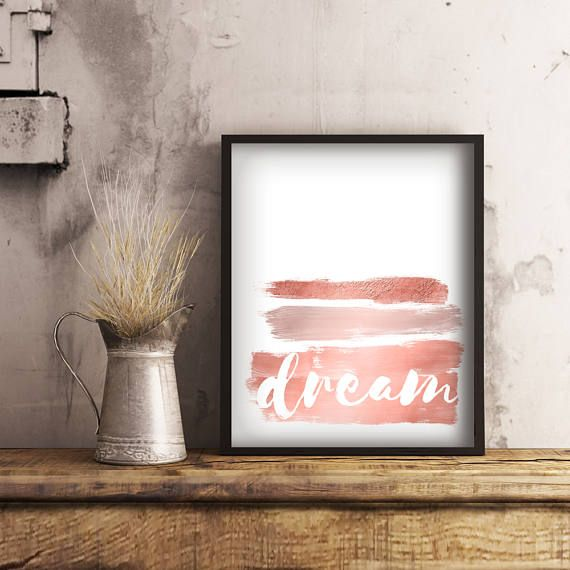 Rose Gold Bedroom Wall Art. Add a dash of sparkle to any decor with this dream typography printable.  Available in several sizes to suit any space.  #dreamart #rosegoldprint #typography