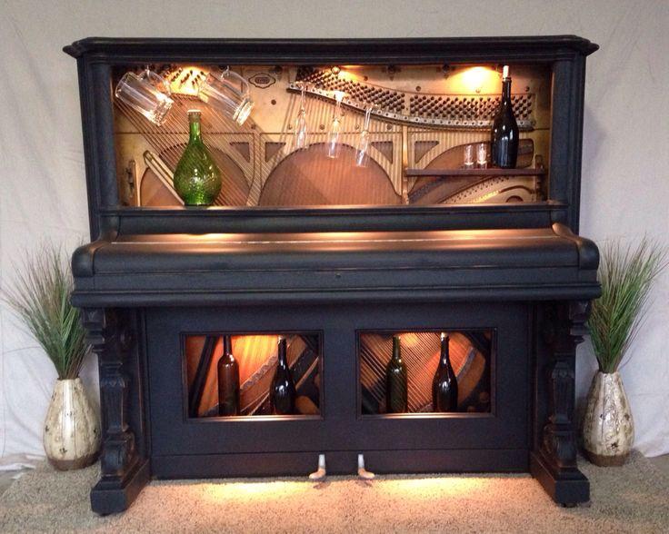Antique piano repurposed into a wine bar