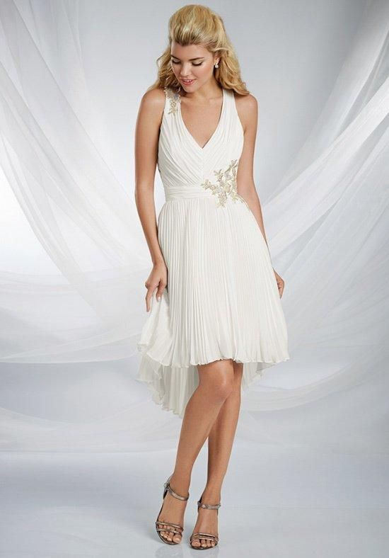 Pleated chiffon Disney bridesmaid gown features tank straps with a dramatic criss-cross back. Delicate lace motifs at the shoulder and waistline add an asymmetric glamor | Disney Royal Maidens by Alfred Angelo | https://www.theknot.com/fashion/527-disneys-royal-maidens-dresses-by-alfred-angelo-bridesmaid-dress