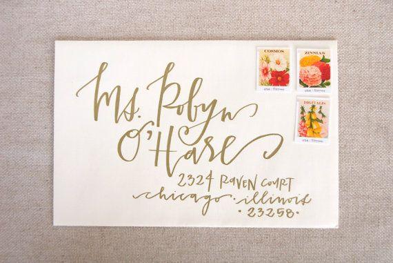 Wedding Calligraphy Envelope Addressing - Gold Modern Calligraphy - Wedding Invitations