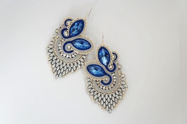 soutache earrings DOUBLESIDED by CattaleyaJewelry on Etsy