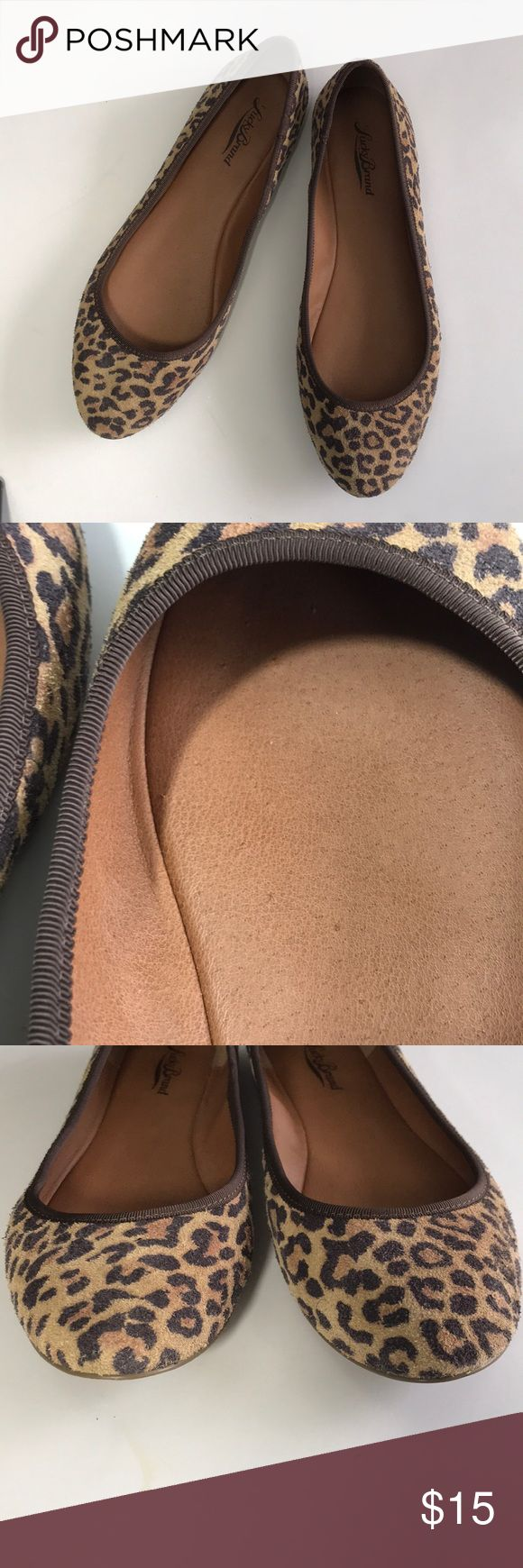 Leopard print Lucky Brand flats Leopard print Lucky Brant flats. Some little tiny scratch marks on the inside of he right shoe (pictured) that you can hardly see and can't feel. I only wore these once. Lucky Brand Shoes Flats & Loafers