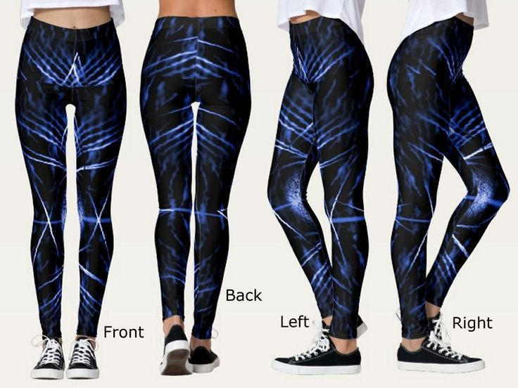 Fancy Leggings with a Spiny Black, Blue and White Digital Art Image
