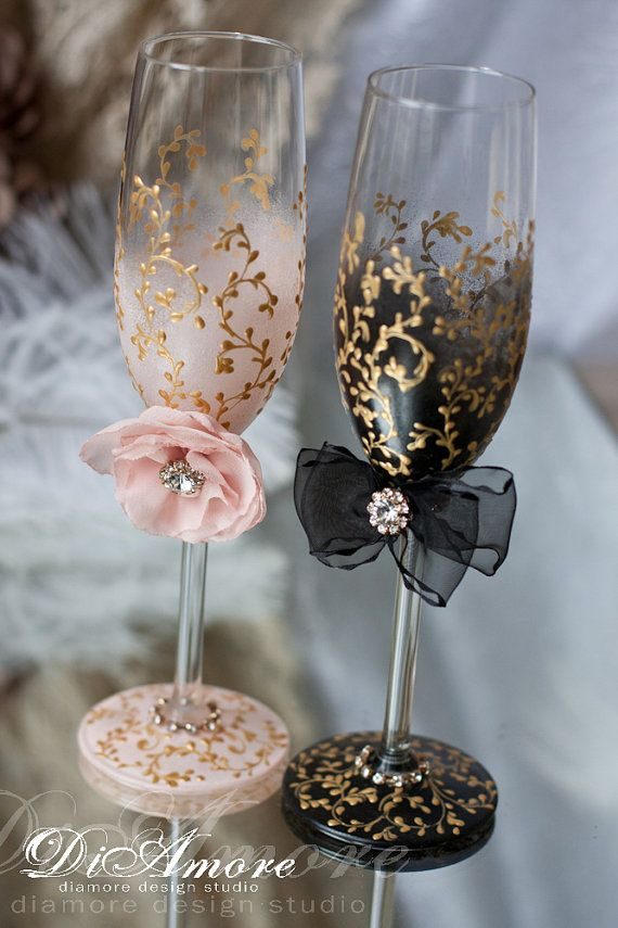 Trend Handmade #Wedding Champagne #glasses/ bride and от DiAmoreDS