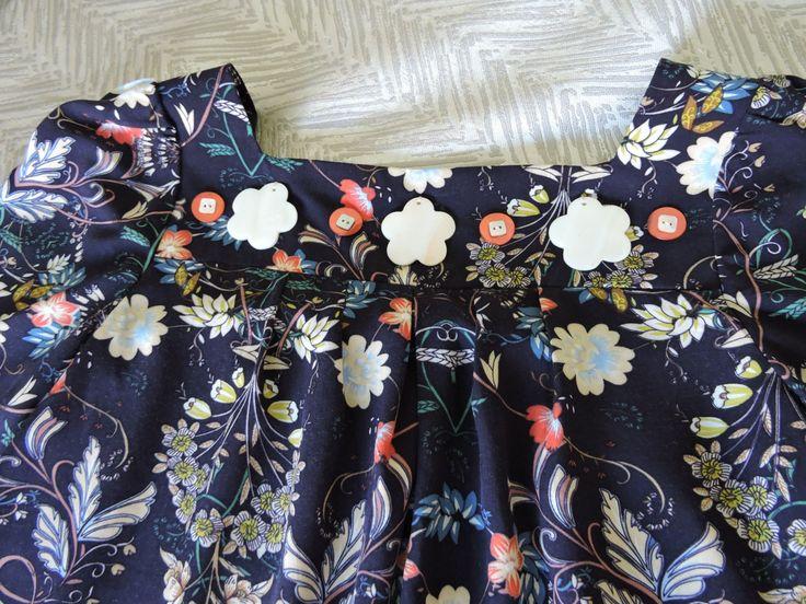 Girls retro paisley print navy blue dress on yoke with button trim by VSLFashions on Etsy