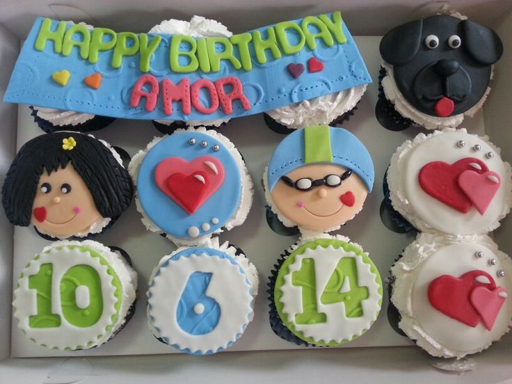 Swimming love happy birthday mokaccino vanilla cupcakes La ...