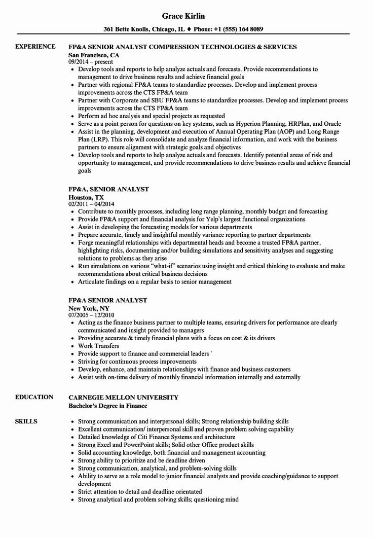 Financial Planning and Analysis Resume Luxury Fp&a Senior