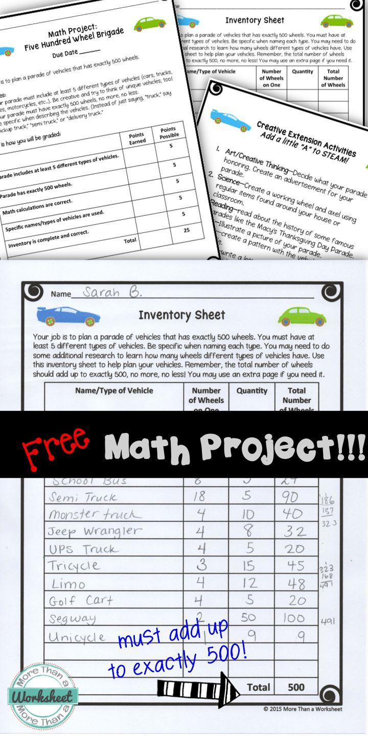 A free math project for grades 3-5 from More Than a Worksheet! Students must plan a car parade that has exactly 500 wheels. Much harder than it seems! Rubric and creative extensions included.