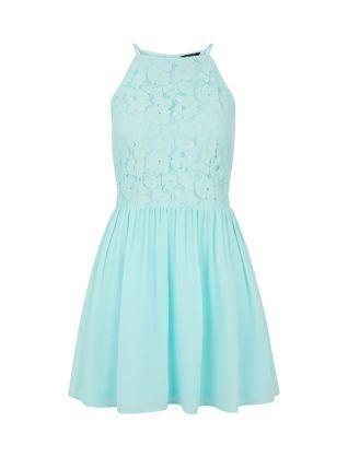 Teens Mint Green Lace High Neck Skater Dress  | New Look
