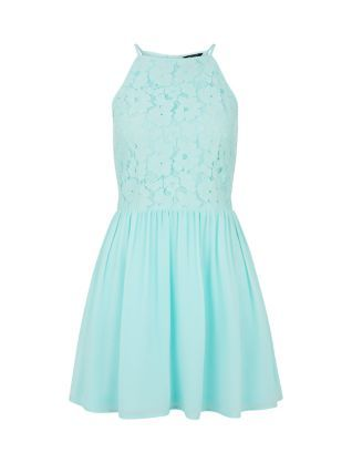 Teens Mint Green Lace High Neck Skater Dress  | New Look