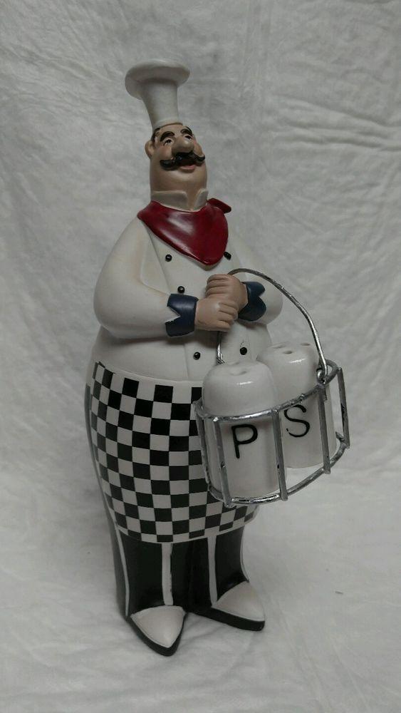 "9½""italian fat chef figurine holder basket w/ceramic salt and pepper"