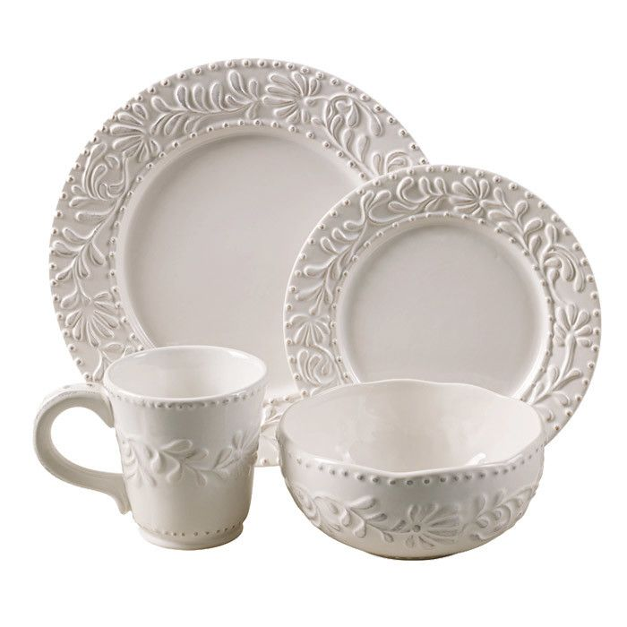 16 Piece Feuille Dinnerware Set  sc 1 st  Pinterest : christmas dinnerware sets canada - pezcame.com