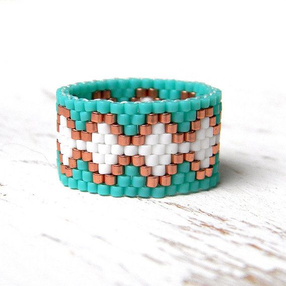 Peyote ring beaded ring turquoise white and copper por Anabel27shop