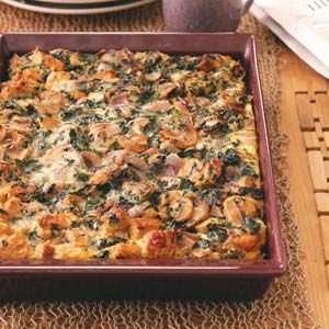 spinach and cheese strata from taste of home - Cheese Strata Recipes Brunch