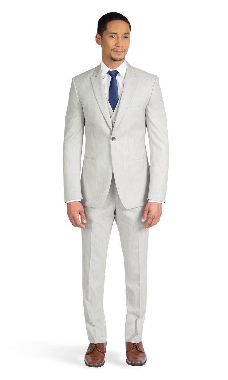 Light Gray Ike Behar Peak Lapel Suit