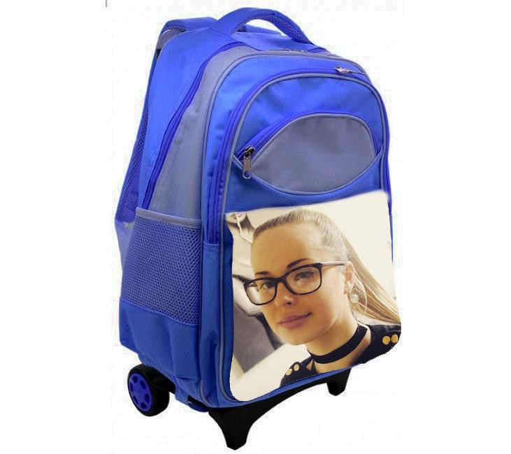 PERSONALISED KIDS TRAVEL BAG BLUE WITH YOUR PHOTO OR ANY IMAGE #Unbranded